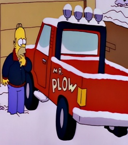 Homer Simpson Mr Plow jacket and truck the Simpsons