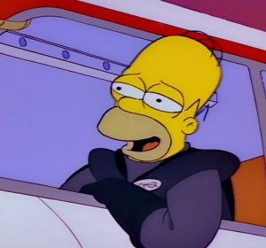 Homer Simpson monorail conductor the Simpsons