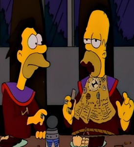 Homer Simpson ruins the sacred parchment stone cutters the Simpsons