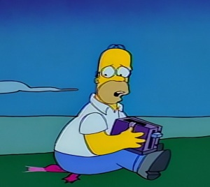 Homer kills prehistoric fish time traveling toaster the Simpsons