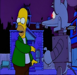 Homer Simpson vs Itchy robot Itchy and Scratchy Land the Simpsons