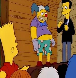 Barney as Krusty the klown Kamp Krusty the Simpsons
