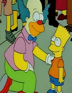 Krusty the klown thanks Bart Simpson for clearing his Name the Simpsons