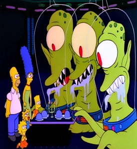 Kang and kodos feed the Simpsons treehouse of Horror the Simpsons