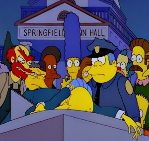 C Montgomery burns dying on sundial the Simpsons mystery episode