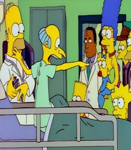 Mr Burns tells everyone that Maggie Simpson shot him the Simpsons