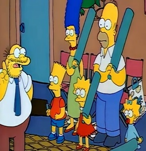 Marvin Monroe giving family therapy to Homer Marge Maggie Lisa and Bart the Simpsons