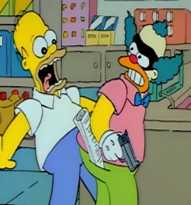 Homer Simpson meets Sideshow Bob posing as Krusty the klown Kwik-E-Mart robbery the Simpsons