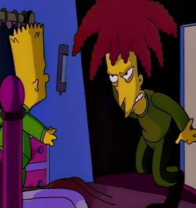 Side show Bob tries to kill Bart Simpson on the houseboat the Simpsons