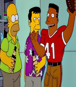 Homer Simpson at the super bowl the Simpsons
