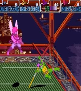 TMNT: Turtles in Time arcade game Donatello vs bug guy Konami