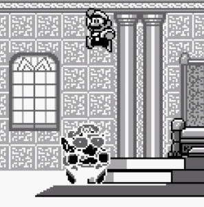 Mario jumping on Wario super Mario Land 2 Nintendo Gameboy
