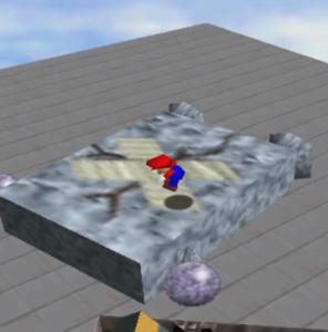 Mario jumps on Whomp King super Mario 64 Nintendo 64