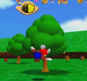 Wing cap Mario into green tree Super Mario 64 and Nintendo 64 N64