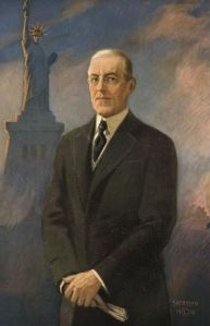 President Woodrow Wilson and the statue of liberty