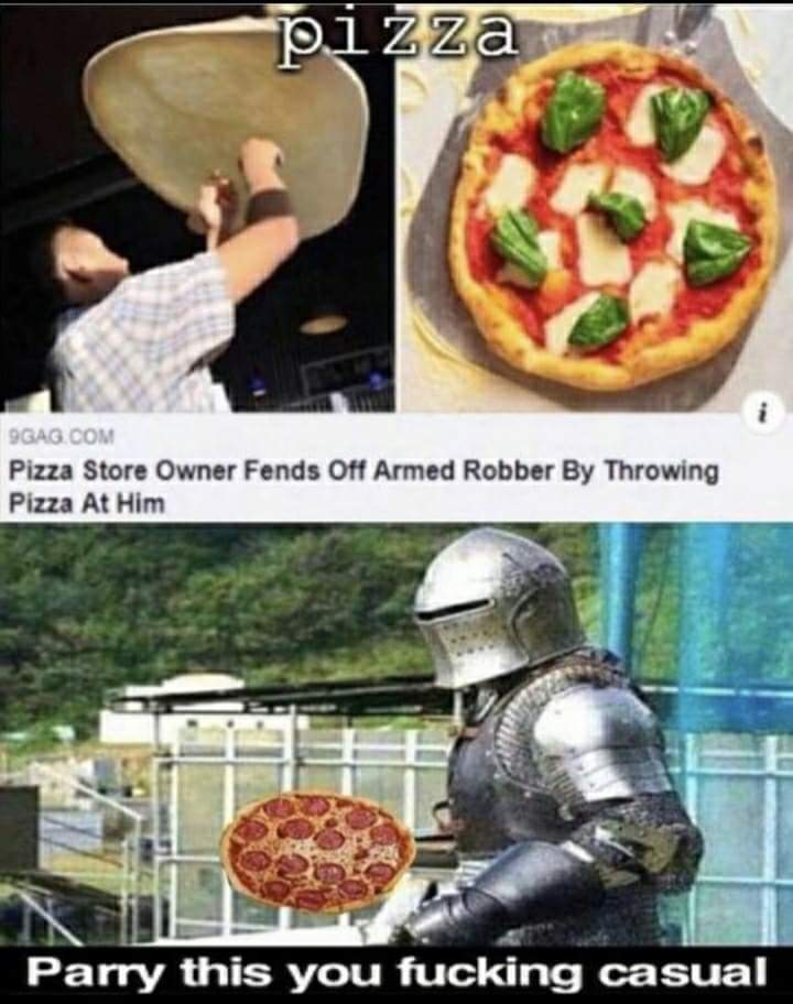 Memes stopping a robber with pizza