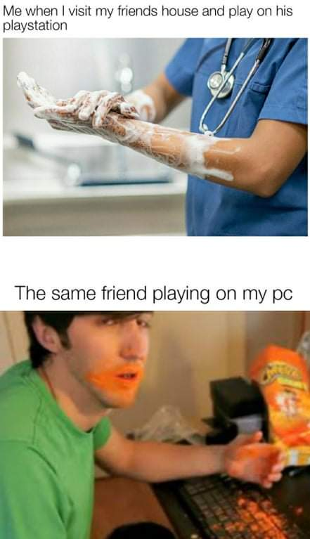 Memes eating Cheetos on the computer