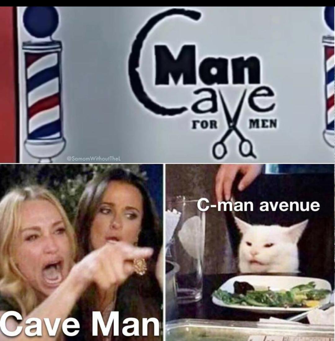 Memes caveman barber shop