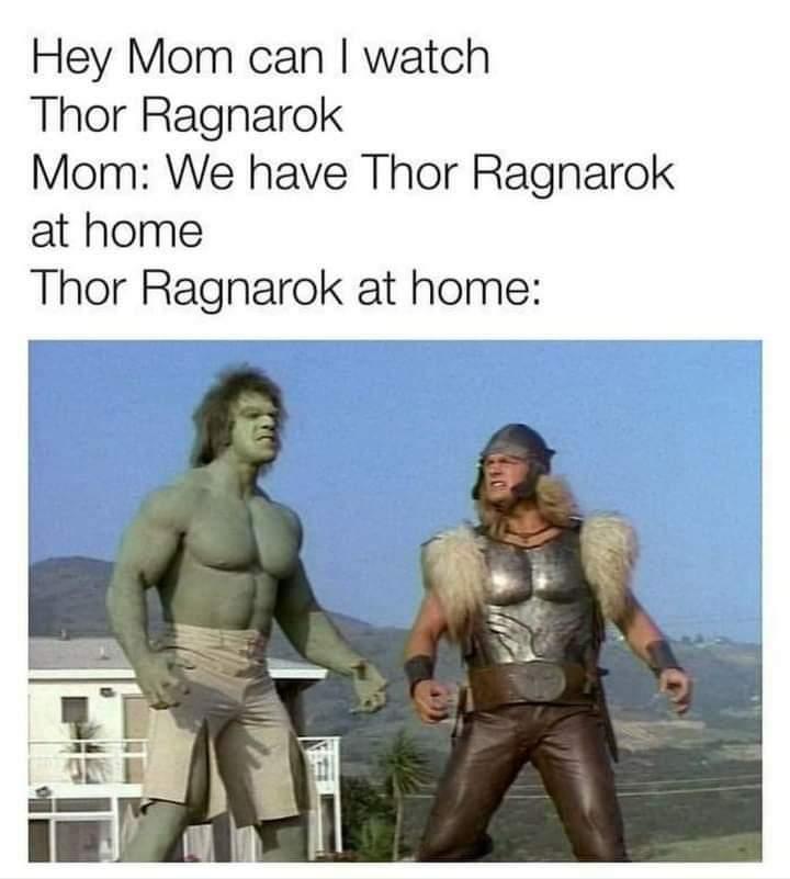 Memes Hulk and Thor 1970s Lou Ferrigno