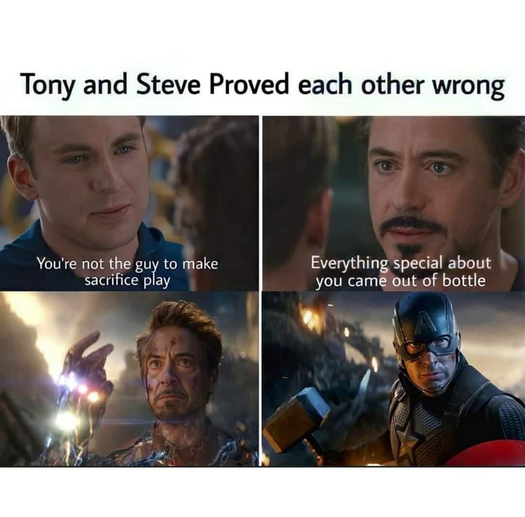 Memes Iron Man and Captain America avengers endgame