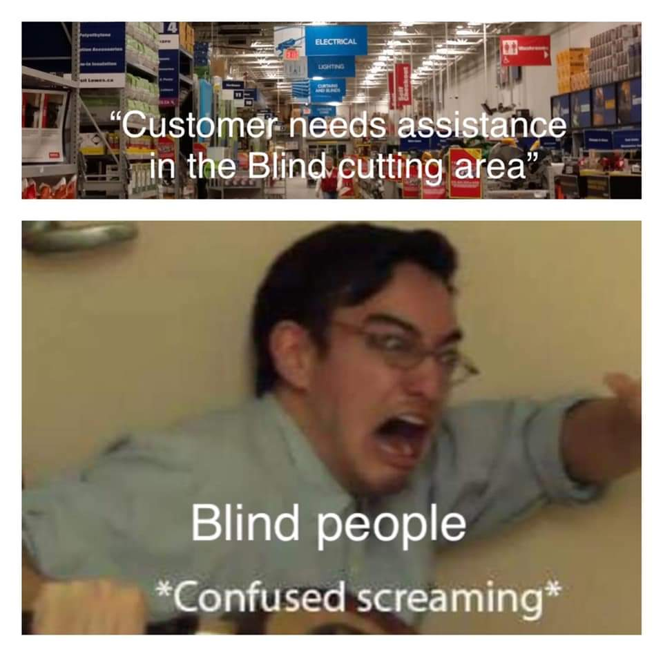 Memes blind cutting area Lowe's Home Depot