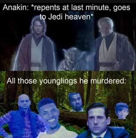 Memes Anakin Skywalker going to heaven