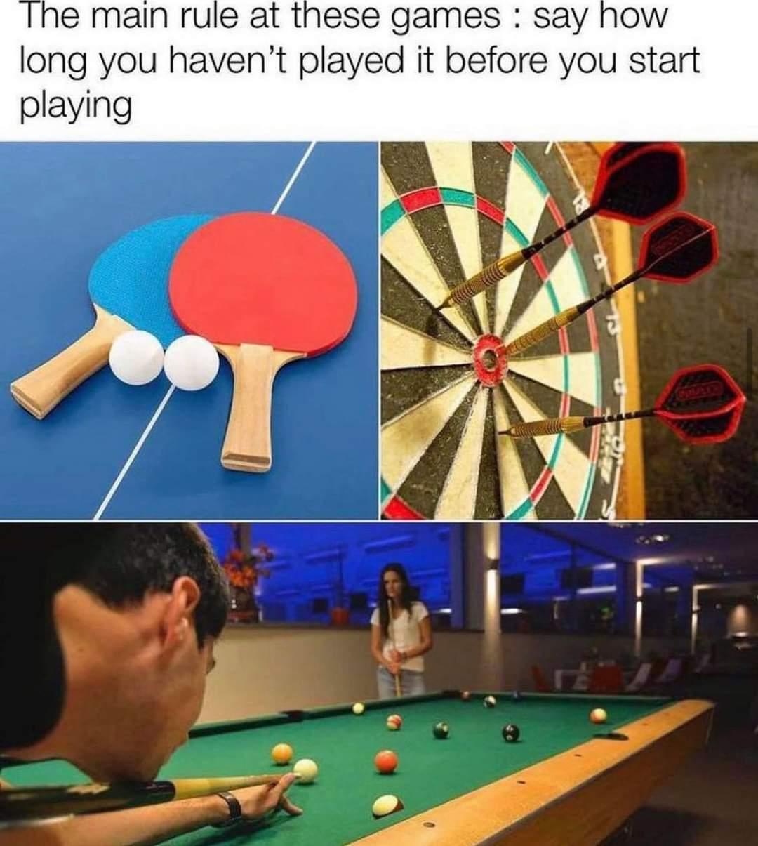 Memes table tennis darts pool billiards