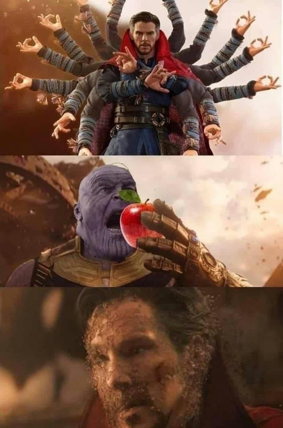 Memes Avengers infinity war Thanos versus Doctor Strange