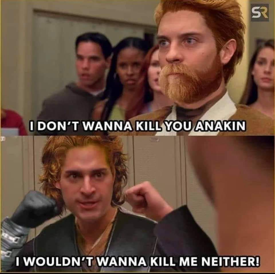 Memes Spiderman parody Star Wars revenge of the Sith Anakin Skywalker versus Obi-Wan Kenobi