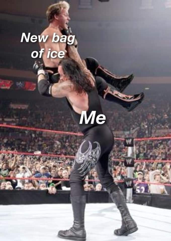 Memes dropping a bag of ice