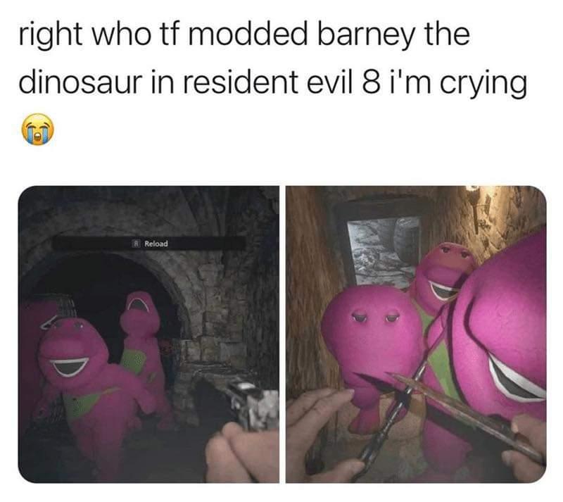 Memes barney the dinosaur in resident evil eight