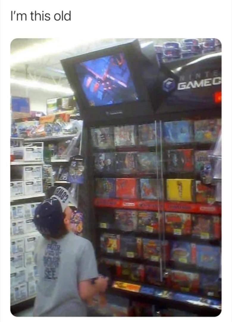 Memes Playing Nintendo game cube at Walmart/target
