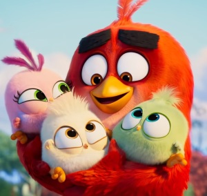 Red hugging baby birds The Angry Birds Movie 2