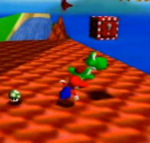Yoshi on the roof Princess Peach's castle Super Mario 64 Nintendo 64 N64