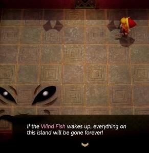 Facade warns Link about the Wind Fish the Legend of Zelda Link's Awakening Nintendo Switch Remake