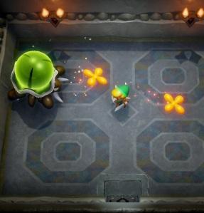 Hardhit Beetle shooting petals at link Link's Awakening Nintendo Switch Remake