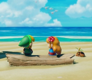 Marin sits with link at the beach the Legend of Zelda Link's Awakening Nintendo Switch