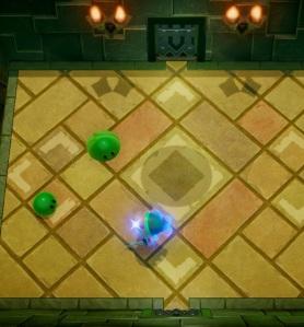 Link vs green chu chu Slime Eye the Legend of Zelda Link's Awakening Nintendo Switch Remake