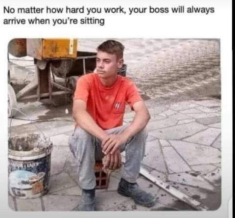 Memes sitting down at work