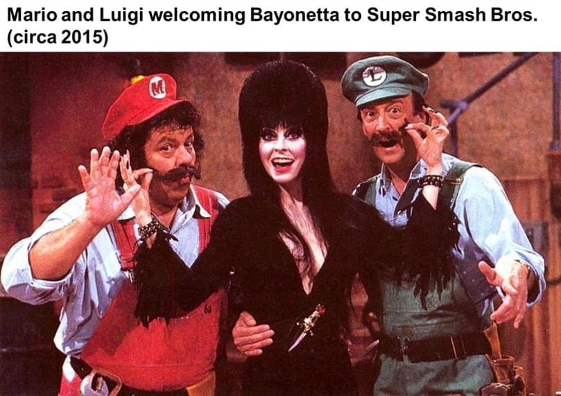 Memes Super Smash Bros Mario and Luigi fighting Bayonetta