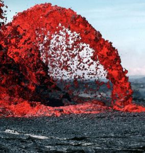 Volcano shooting out lava