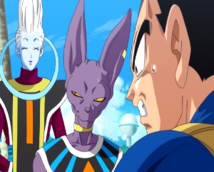 Whis and lord Beerus meet prince vegeta Dragon Ball Z: Battle of Gods