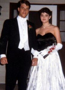 Young couple prom dance 1980s tux and prom dress