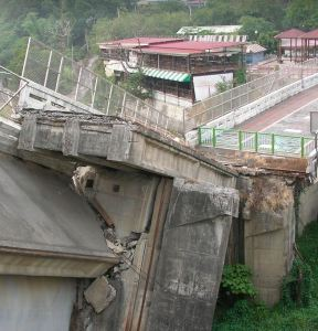 Concrete bridge destroyed by earthquake