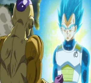 Super Saiyan blue vegeta knocks out golden frieza Dragon Ball Super