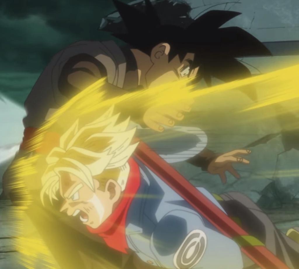 Future trunks punches Goku Black Dragon Ball Super