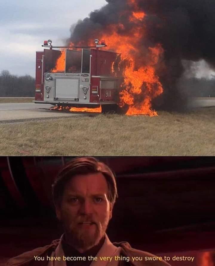 Memes fire truck on fire