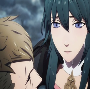 Byleth crying over father jeralt dying fire Emblem three houses Nintendo Switch