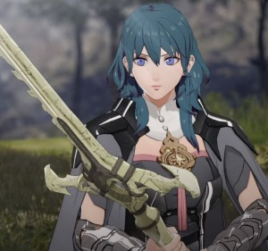 Female Byleth holding sword of the creator fire Emblem three houses Nintendo Switch