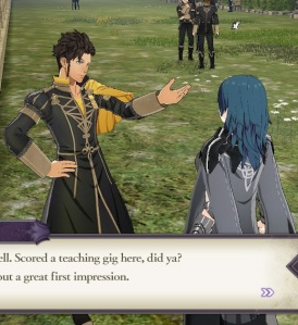 Claude talking to byleth fire Emblem three houses Nintendo Switch